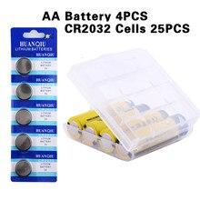 YCDC 4 sztuk 1.2 V 2000mAh Ni-MH akumulator AA + 25 sztuk CR2032 ogniwa monetowe dla LED latarka latarka płyta główna