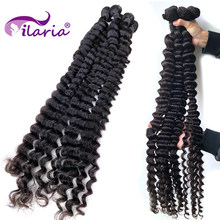 Wholesale Curly Brazilian Hair Weave Bundles Deep Wave Remy Hair Weft Natural Color 30 32 34 36 38 40 Inch Human Hair Extensions(China)
