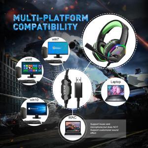 Image 5 - Eksa e1000 jogos fones de ouvido com cancelamento de ruído microfone rgb luz 7.1 surround som com fio gaming headset gamer para ps4 pc