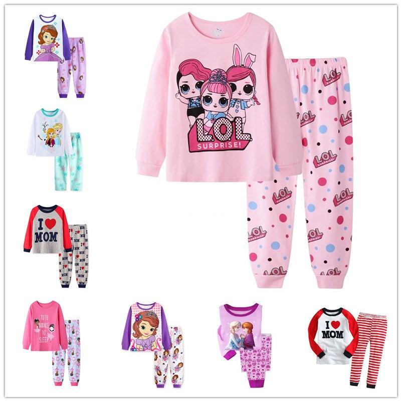 Spring Autumn Children's Pajamas Set Girls Cotton New Years Sleepwear Set Long-sleeved Print Cute Kids Pajamas Suit Girl Gift