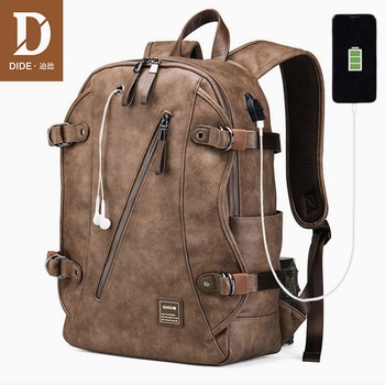 DIDE USB Anti theft Leather School Backpack Bag For teenager male Waterproof travel laptop backpack Men mochilas escolares dide usb charging anti theft leather school backpack bag for teenager fashion male waterproof travel laptop backpack men