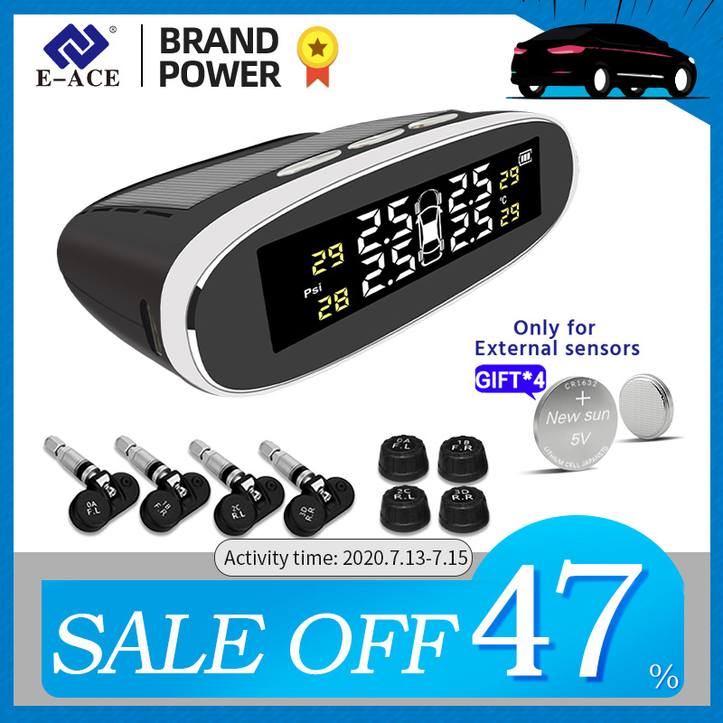 E-ACE TPMS Car Tire Pressure Alarm Monitor System Solar Power Charging Sensor Auto Security Digital Display Temperature Warning