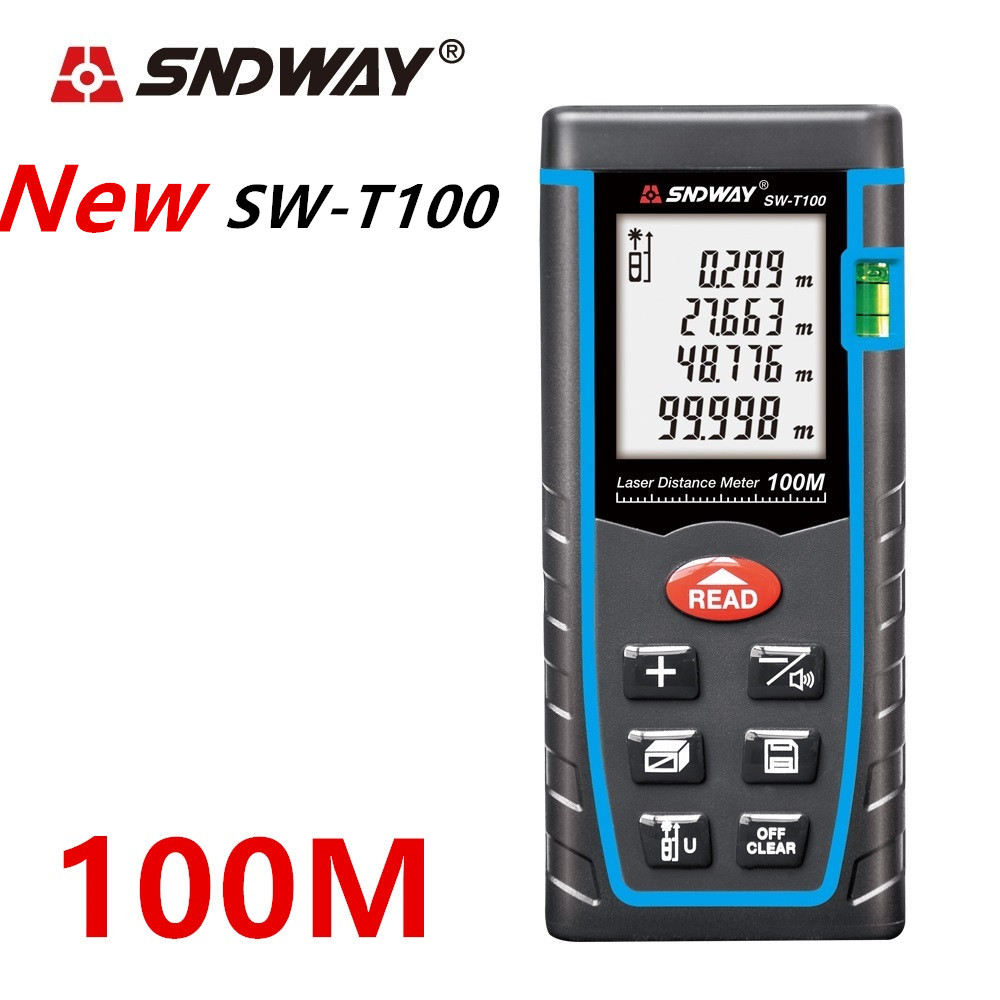 SNDWAY Laser Distance Meter 40-120M with LCD and Auto Power Off to Measure Wide Range Area 1