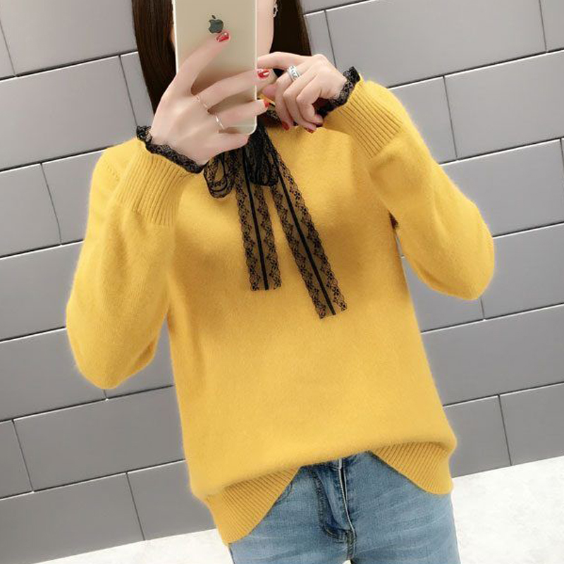 Women's Clothing Knitted Sweaters 2019 New Blouses Shirts Autumn Bow Neck Long-Sleeveknit Sweater Loose Women Top Knitted 76H