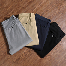 Męskie jesienne nowe klasyczne dorywczo biznesowe spodnie na co dzień wysokiej jakości rozciągliwe dopasowanie bawełniane męskie spodnie marki Khaki jasnoszary czarny tanie tanio BLEASENDY Ołówek spodnie CN (pochodzenie) Mieszkanie COTTON spandex Kieszenie REGULAR 28 - 38 17161013 Smart Casual Midweight