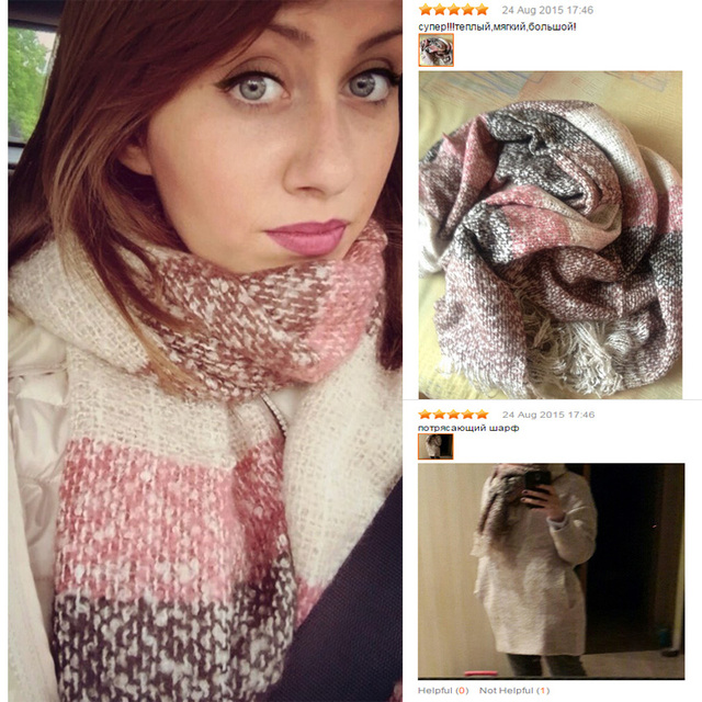 2020 Women Fall Winter Mohair Cashmere Like Scarf Long Size Warm Fashion Scarves & Wraps For Lady Casual Patchwork Accessories 2