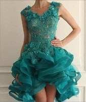 High Low Cocktail Dresses 2019 A line Cap Sleeves Tulle Lace Beaded Green Elegant Homecoming Dresses