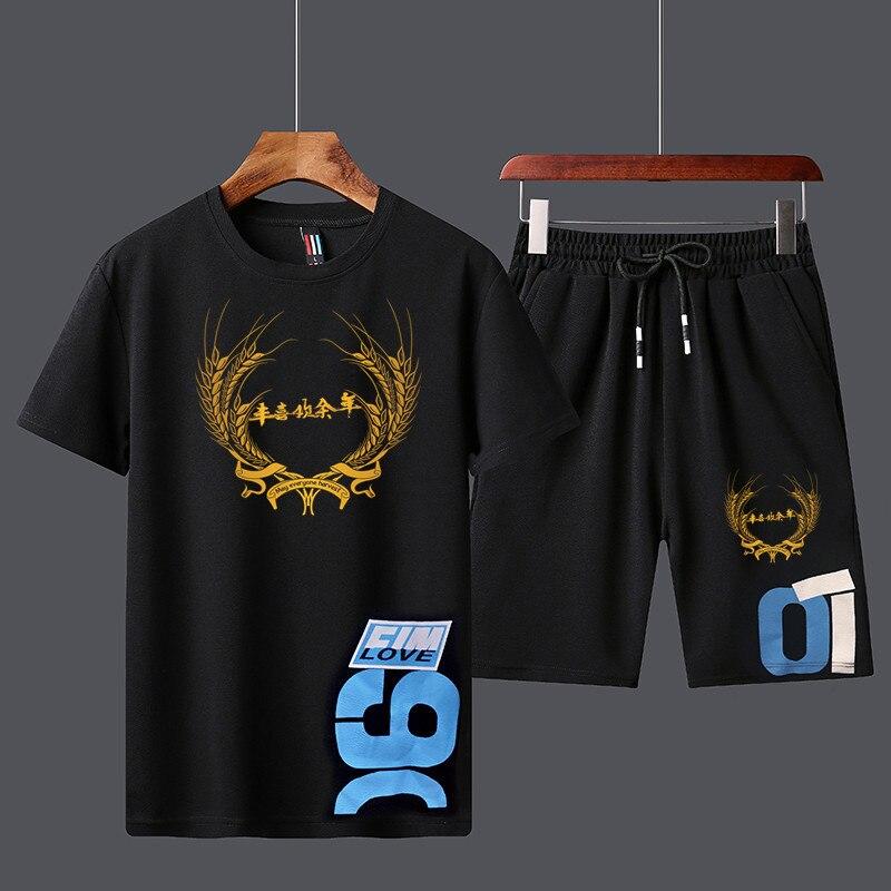 2020 Fashion Men's Summer Suit Hot Sale T-shirt+Shorts Two Piece Sets Casual Sportswear Men Casual T-shirt  Fitness Sports Suit