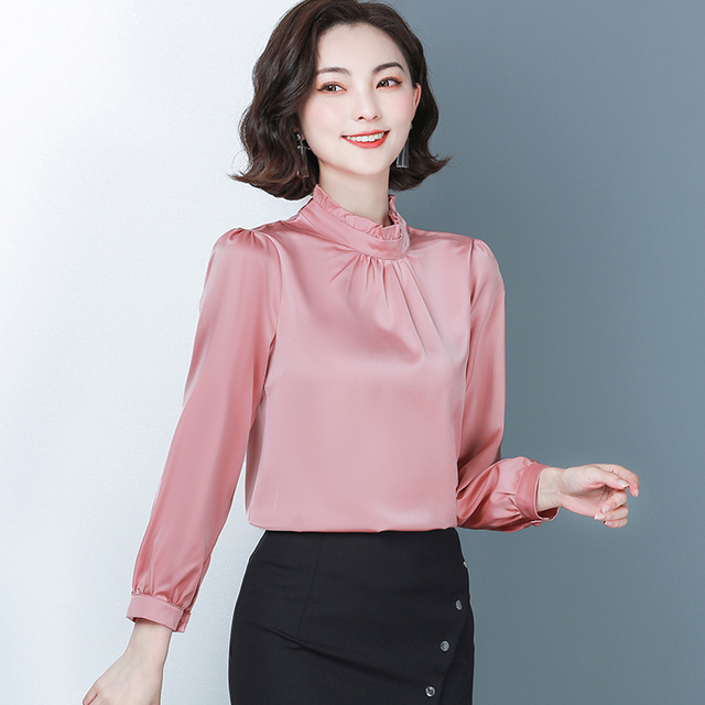 New Spring Long Sleeved Women's Shirts Satin Blouses Loose Office Work Wear Tops Ruffles Stand Collar Plus Size 4XL Green Shirts 4