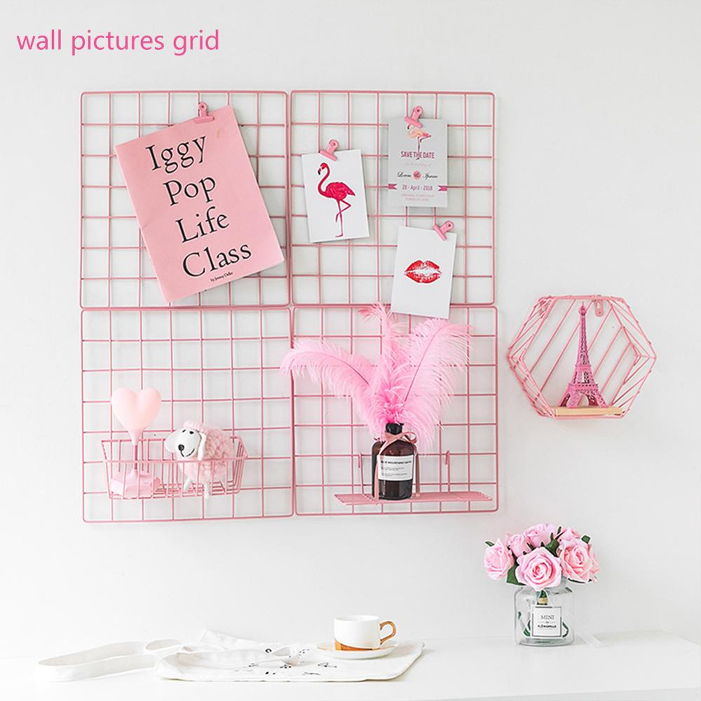Pink Room Wall Decor For Girls Iron Wire Mesh Board Photo Hanging Pictures Frame Panel Postcards Grid Rack Home DIY Wall Shelf