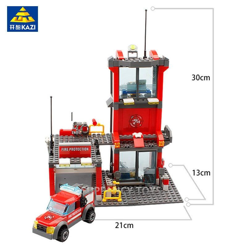 Купить с кэшбэком 300Pcs City Fire Station Truck Car Building Blocks Sets Firefighter Playmobil Brinquedos Technic Figures DIY Bricks Kids Toys