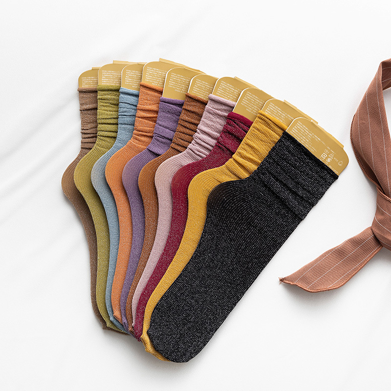 Gold And Silver Thread Solid Color Woman Socks Thin For Spring Summer Kawaii Socks Women Japanese Korean  Calcetines Mujer 30801