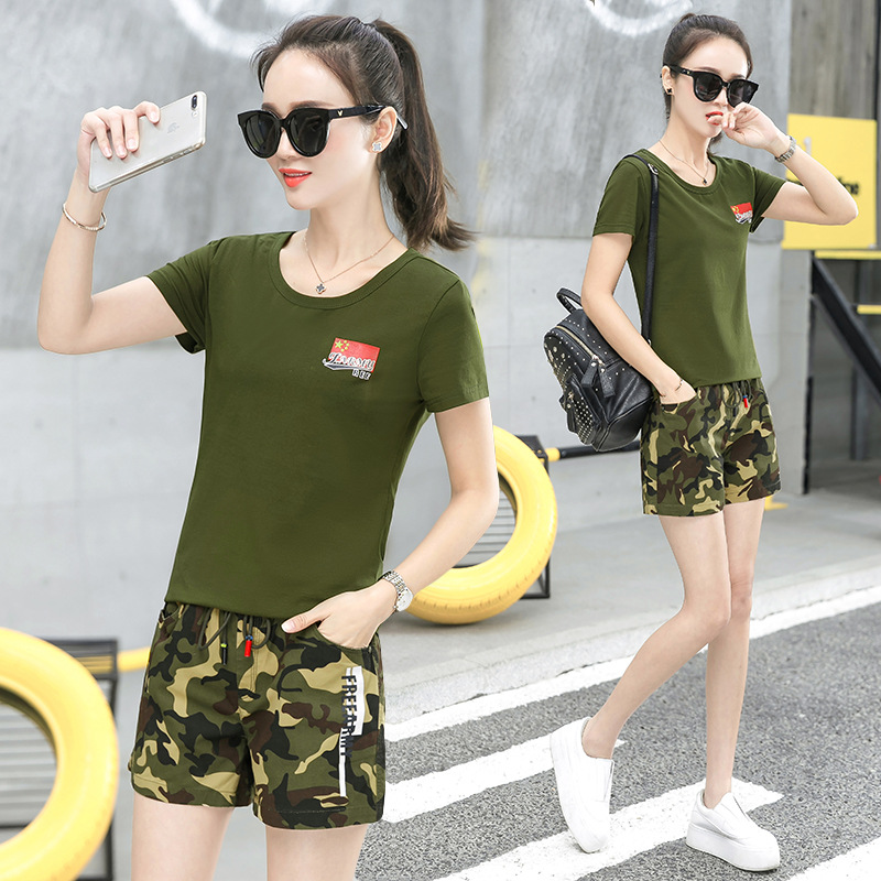 Camouflage Suit Large Size Casual WOMEN'S Suit 2019 Summer New Style Simple Military Style Camouflage Short Sleeve Shorts Two-Pi