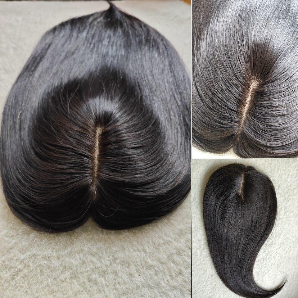 14'средняя часть человеческие волосы Топпер парик для женщин дышащая шелковая основа с машинными зажимами для волос женский парик Реми шинь...