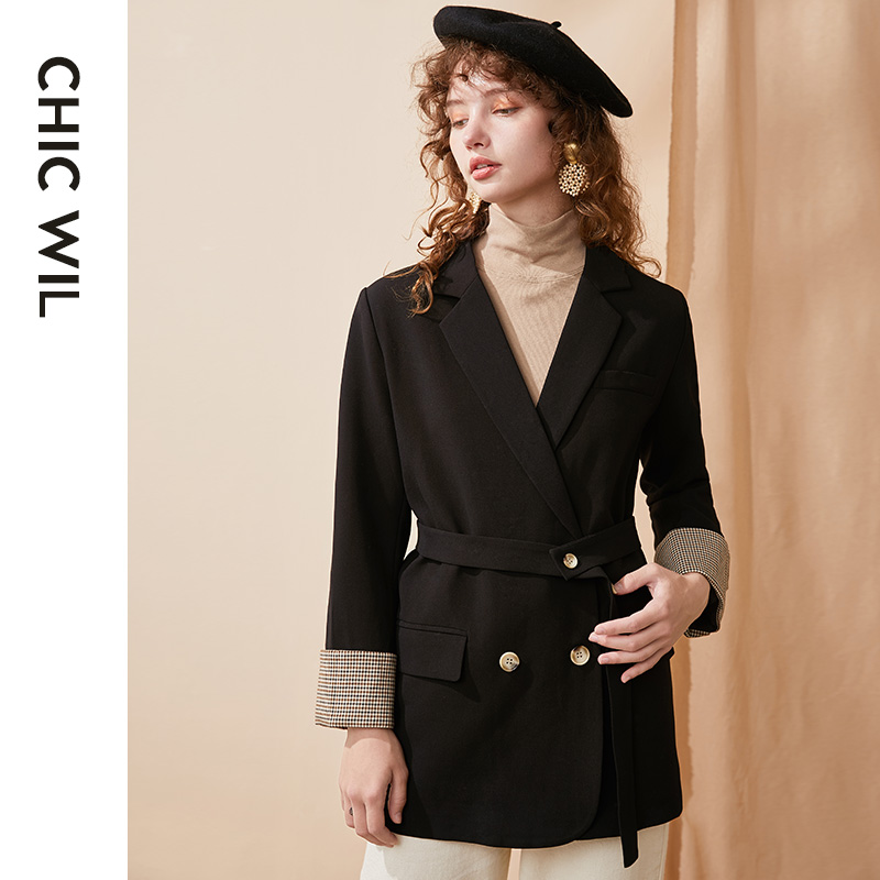 New Double Breasted Blazer Women Casual Autumn Belt Formal Ladies Suit Long Sleeve Veste Femme Coats Female Clothing ED50XZ