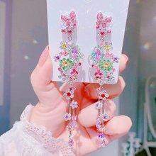 MENGJIQIAO-pendientes largos colgantes de cristal para mujer, joyería elegante de fiesta, flor de mariposa de lujo, Color plateado, Palacio coreano