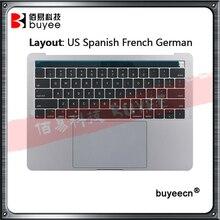 """Genuíno a1989 palmrest topcase para macbook pro retina 13.3 """"a1989 eua espanhol francês alemão teclado + trackpad cinza prata"""