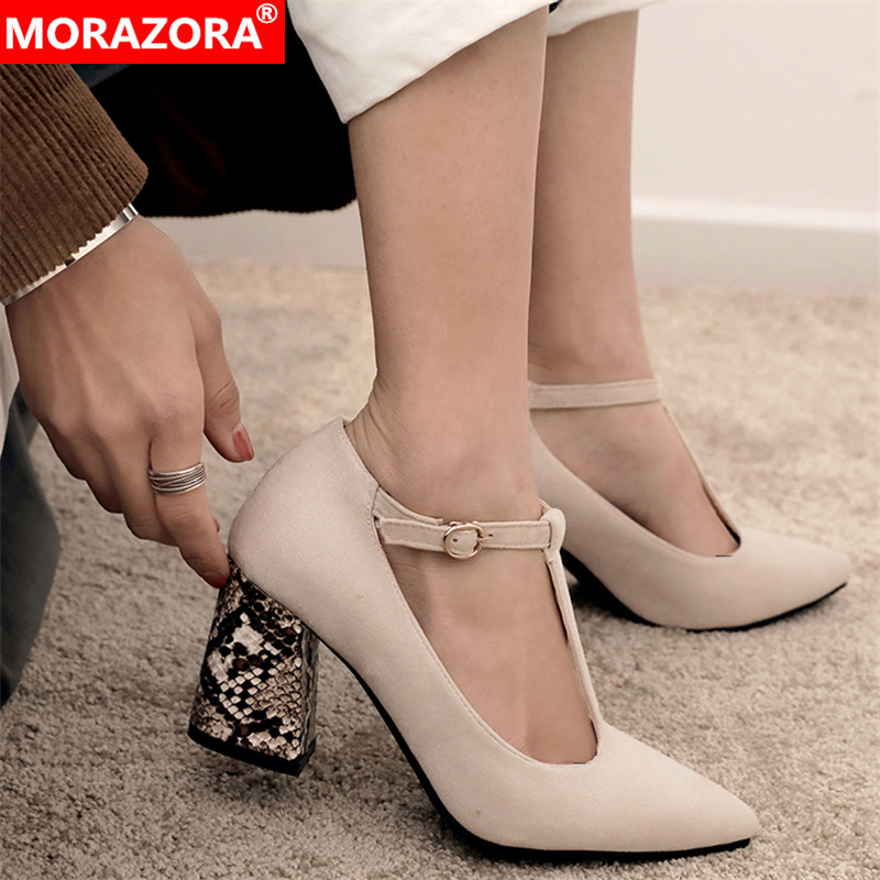 MORAZORA Plus Size 33-46 New Women Pumps T-strap Snake Print Thick High Heels Party Wedding Shoes Woman Ladies Summer Shoes