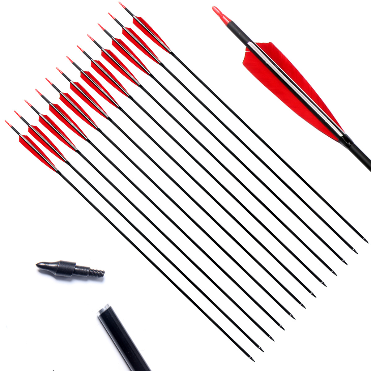3/6/12pcs Mixed Carbon Arrow <font><b>30</b></font> Inches Spine <font><b>500</b></font> Diameter 6.2 mm for Recurve Bow Archery Hunting Shooting Arrows image