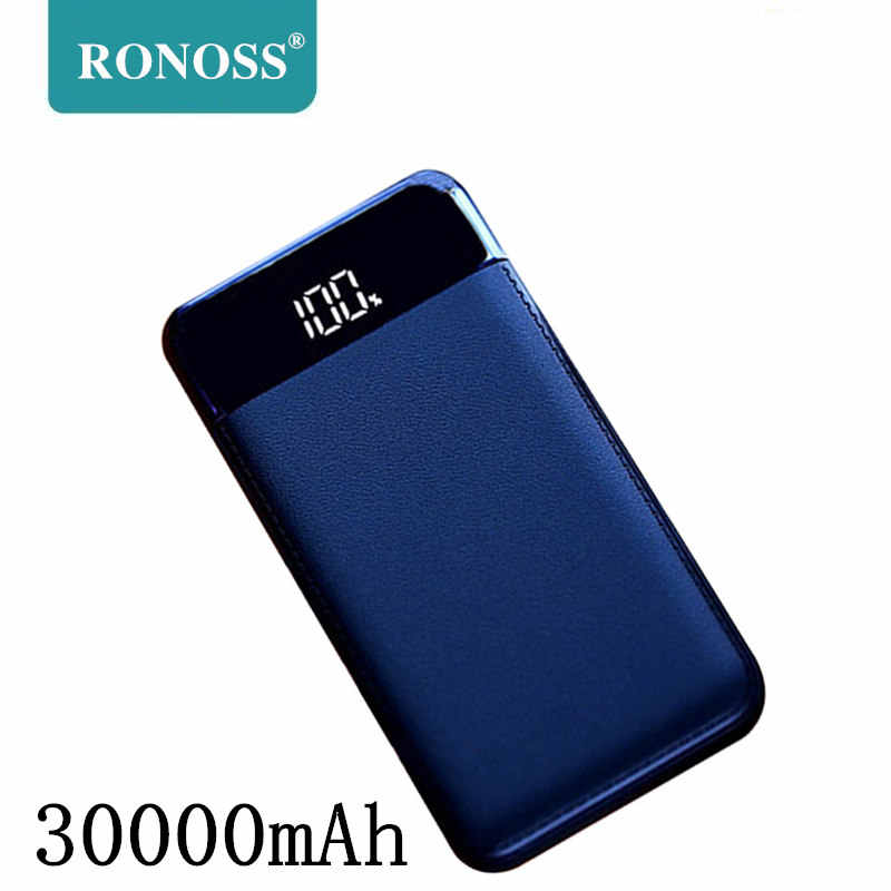 Untuk Xiaomi Mi 30000 MAh Power Bank External Battery Poverbank 2 USB LED Powerbank Portable Mobile Phone Charger untuk Iphone Huawei