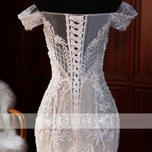 Image 5 - Elegante Spitze Appliques Meerjungfrau Hochzeit Kleider 2020 vestido de noiva Ärmellose Bodenlangen Weg Von der Schulter Brautkleider