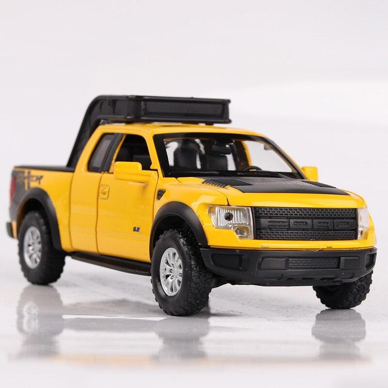 [En caja] Raptor F150 aleación coche modelo maqueta de camioneta coche sonido y luz Coche 1/32 escala modelo de fundición GAZ Tigre 15Cm réplica en metal coche niños de juguetes con caja de regalo/caja de sonido/luz/Atrás función
