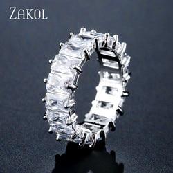 ZAKOL moda Mutilcolor AAA bagietka cyrkonia obrączki ślubne dla kobiet luksusowe T kształt kamień Party biżuteria FSRP2119