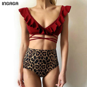 INGAGA High Waist Bikinis 2021 Swimsuit Female Sexy Ruffle Swimwear Women New Leopard Biquini Cross Bandage Bathers Bathing Suit