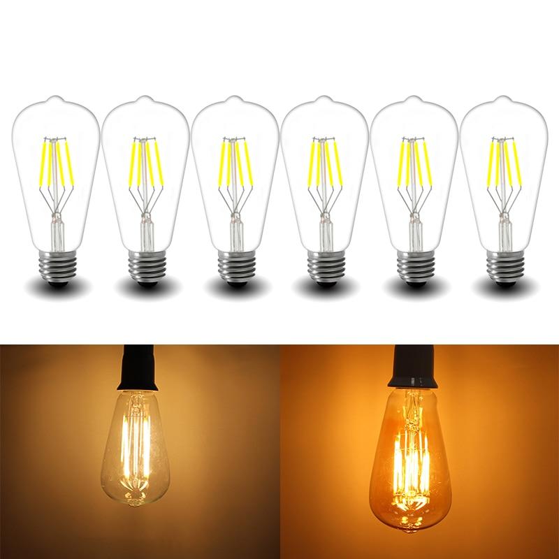 E27 4W 6W 8W ST64 LED Bulb Brown Clear Filament Glass Lamp Light 220V Warm White Retro Loft Decor