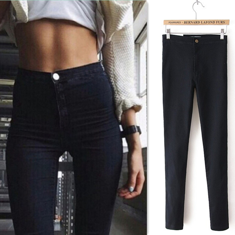 High Waist Jeans Pants For Women Stretch Blue Streetwear Pants Black Jeans Skinny Casual Cotton Denim Summer Jeggings 0091