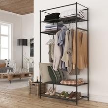 LANGRIA Portable Closet Shoe Organizer with Detachable Brown Cloth Cover Wardrobe Metal Storage Clothes Rack Armoire 4 Shelves