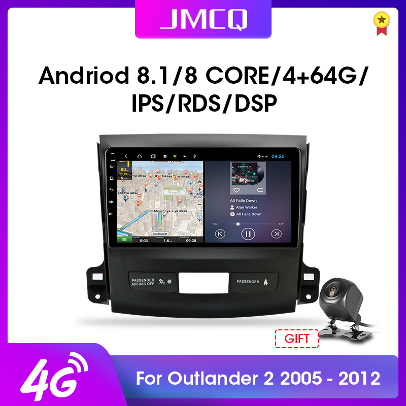 JMCQ 2din <font><b>Android</b></font> 9.0 Car Radio Multimidia Video Player RDS DSP For <font><b>Mitsubishi</b></font> <font><b>Outlander</b></font> Xl 2 CW0W 2005-2012 Navigation GPS image