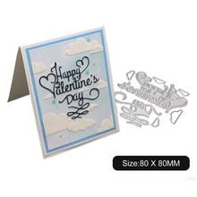Счастливый День святого Валентина металлический прорезной трафарет для окраски DIY Скрапбукинг штамп для альбомов бумажная карточка чеканка декор рукоделие