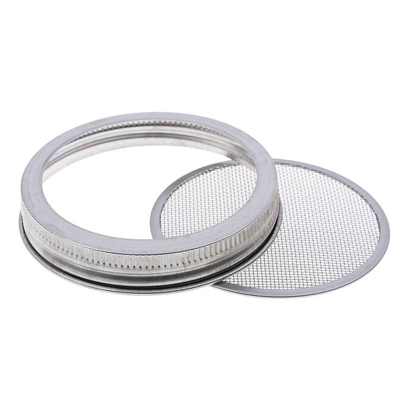 1Set Seed Sprouter Germination Cover Kit Stainless Steel Germinator Sprouting Mason Jars with Stainless Steel Strainer Lids