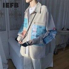Korean Fashion Shirt Work-Clothes Long-Sleeve Loose Iefb/men's Print New Wear Trend Tops