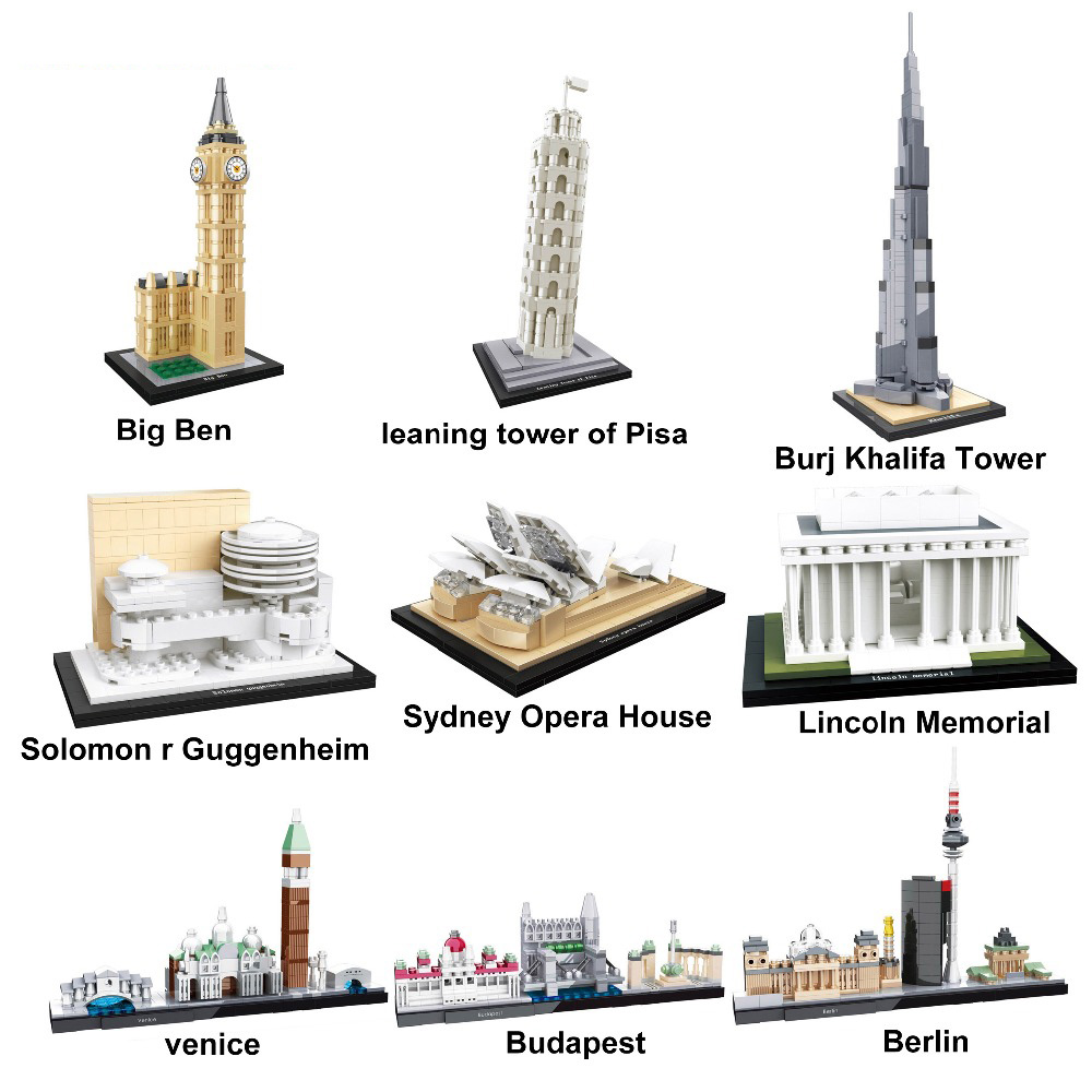 2019 Architecture Burj Khalifa Landmark Collection Building Blocks Kit City Bricks Classic Model Kids Toys Compatible Legoings
