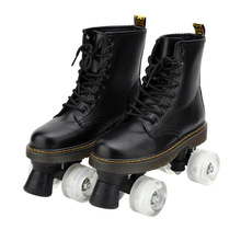 Skate-Shoes Patines 4-Wheels Flash Double-Line White Artificial Women Sport with Pu