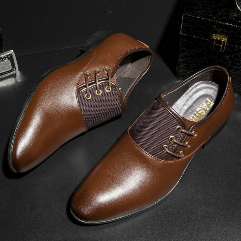 Bout pointu mode noir robe chaussures hommes en cuir chaussures d'affaires mariage chaussures pointus formelle OxfordS grande taille 201 tyh
