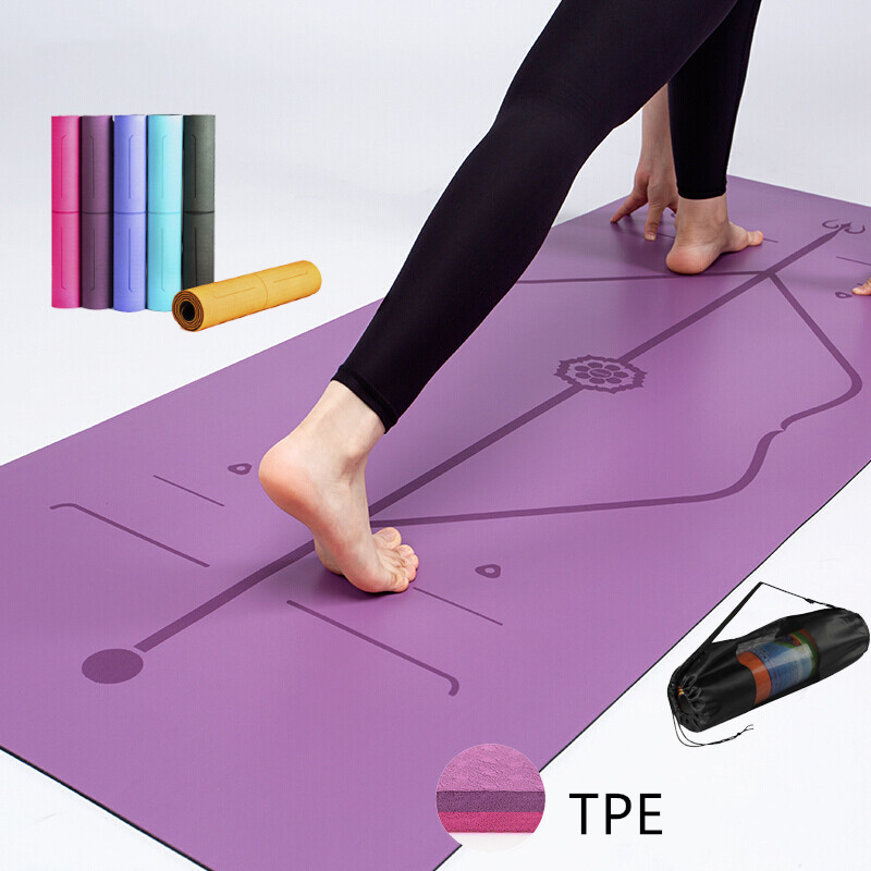 TPE Yoga Mat With Position Line Fitness Gymnastics Mats Double Layer Non-slip Beginner Sport Carpet Pads 1830*61*6mm Mats Yoga