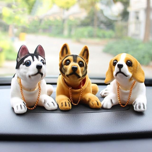 Husky Beagle muñeco de decoración para el Interior del coche, adorno de sobremesa