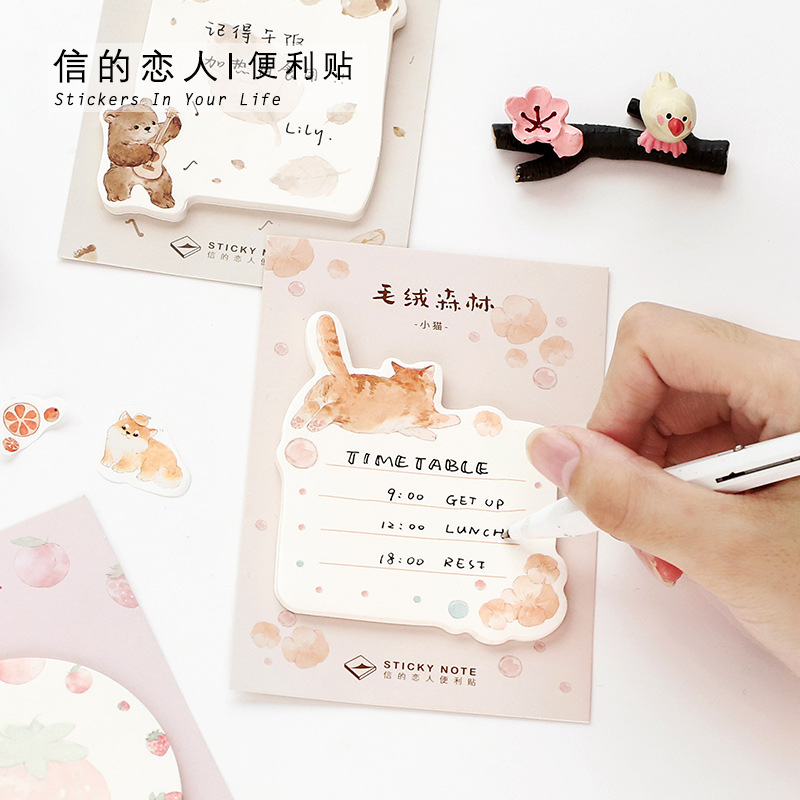 Plush Forest Series Cat Bear N Times Self-Adhesive Memo Pad Sticky Notes Bookmark School Office Supply