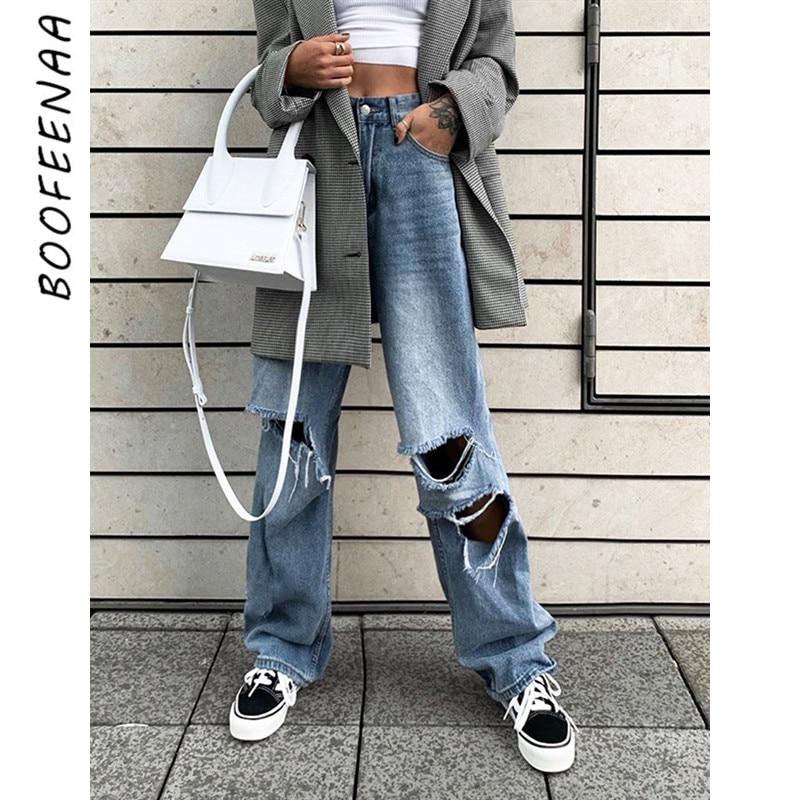 BOOFEENAA High Waist Hole Ripped Jeans Woman Street Wear Boyfriend Jeans For Women Denim Straight Wide Leg Pants C67-BA08