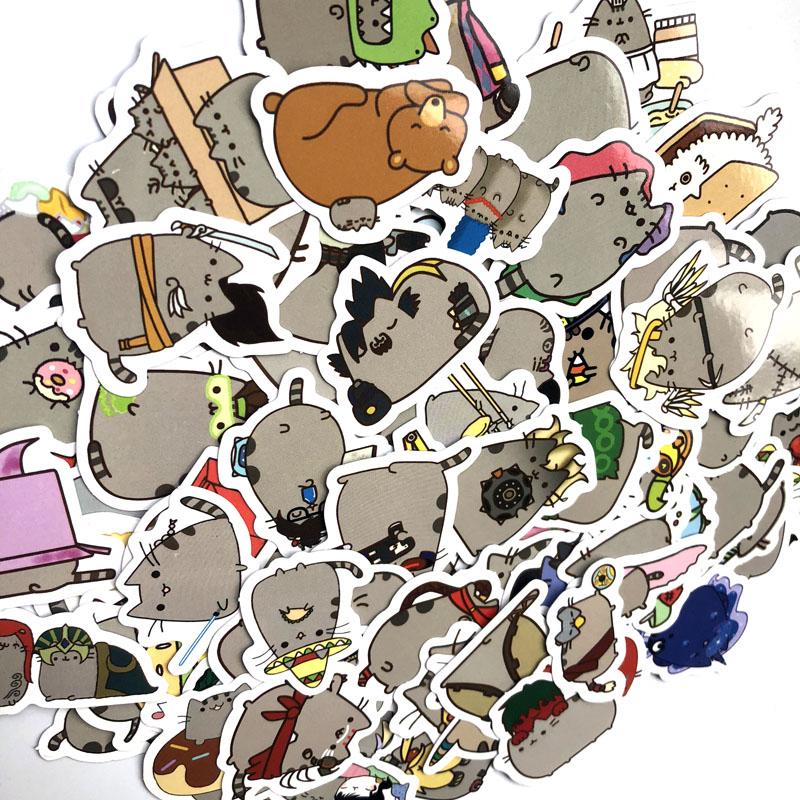 Купить с кэшбэком 100pcs/pack Cute Fat Cat Decoration Stickers Diy Paper Sticker Scrapbooking for Diary Album Label Sticker Bullet Journal Sticker