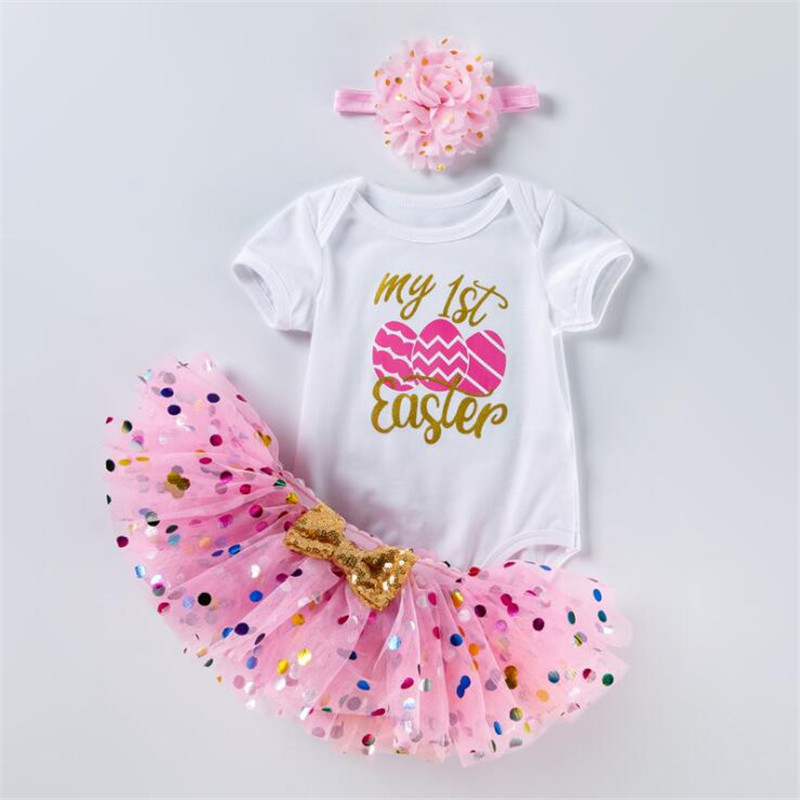 2 anos menina do bebê vestido de aniversário primeira páscoa menina festa tutu vestido da criança 3 peça infantil roupas recém nascido vestido