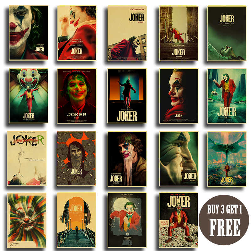 2019 Popular Movie Joker Posters Vintage Wall Posters and Prints Kraft Paper Home Room Decorative Painting Wall Stickers
