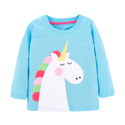 VIDMID Baby Girls Long Sleeve Casual T-shirts Kids Cotton Floral Cartoon Clothes Tops Children Girls T-shirts Tees Kids Baby Top 5