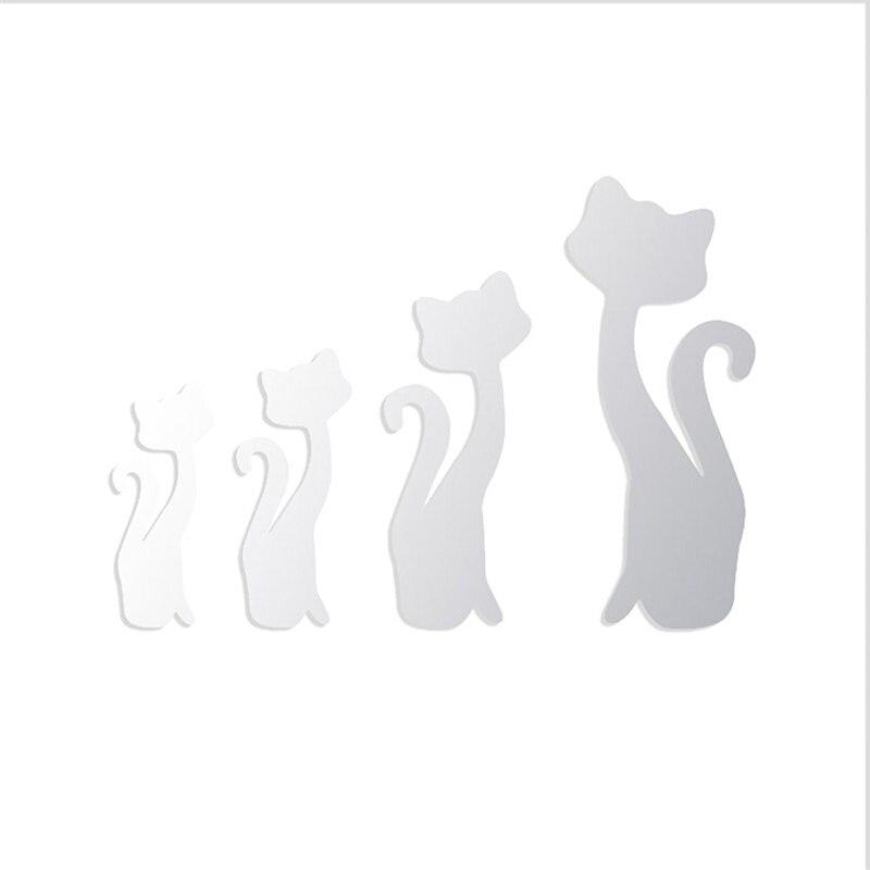 Настенные наклейки современные зеркальные акриловые милые кошачьи