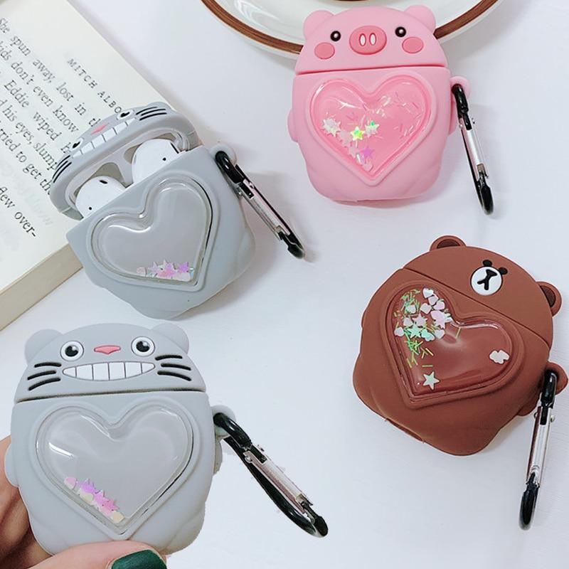 3D Cute Cartoon Pig Brown Bear Kawaii Totoro Case for Apple Airpods 1 2 Dynamic Liquid Quicksand Heart Wireless Earphone Cover thumbnail
