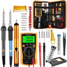 Ручной инструмент, набор паяльников с регулируемой температурой, 110 В, 220 В, 60 Вт, набор паяльников с мультиметром, паяльник