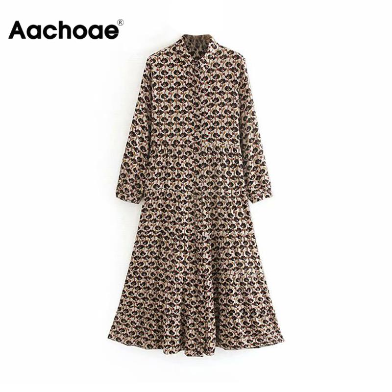 Aachoae Women Vintage Casual Floral Print Long Shirt Dress Turn Down Collar Long Sleeve Pleated Party Dresses Vestidos Mujer
